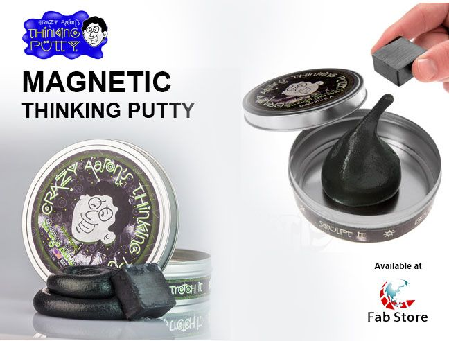 Like any other thinking putty, it can be stretched, bounced, molded, popped, and torn. It's awesome in the presence of a magnetic field, it exhibits fascinating properties. Find out the varieties of thinking putty at Fab Store. Visit our outlet in spinneys, The Pearl - Madinat Centrale or www.fab-store.com