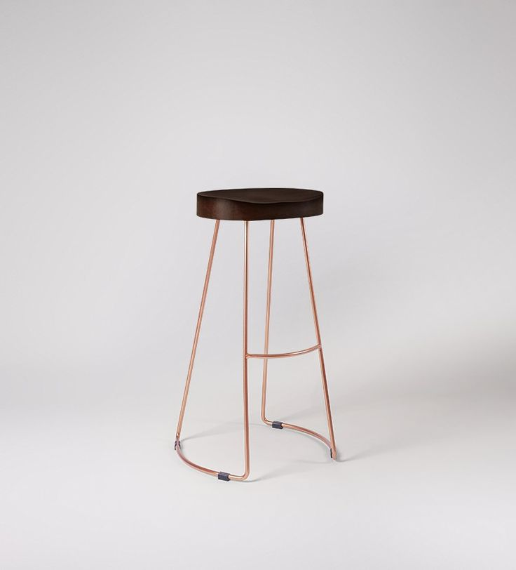 Swoon Editions Bar stool, industrial-style in mango wood and copper - £129