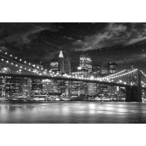 Fotografie tapet Podul Brooklyn alb-negru