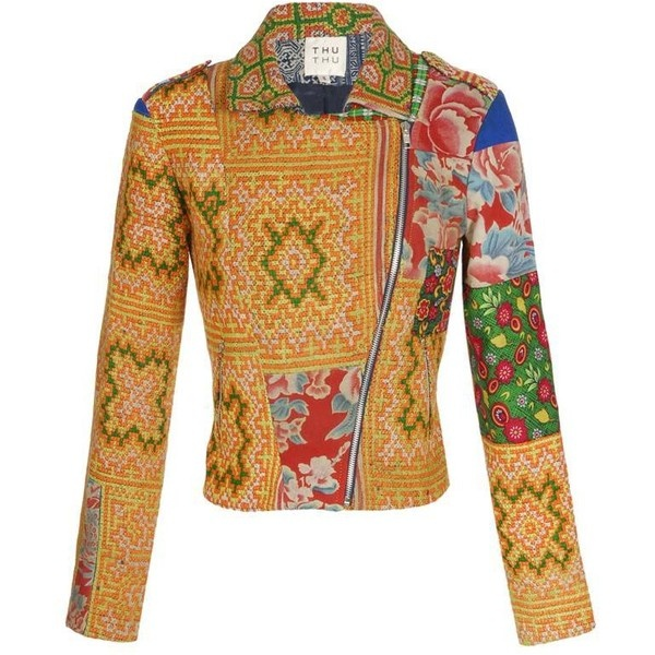 How amazing is this!  THU THU Tribal embroidered biker jacket found on Polyvore
