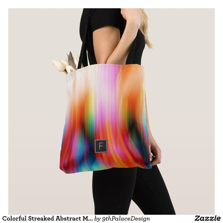 Colorful Streaked Abstract Monogram | Tote Bag