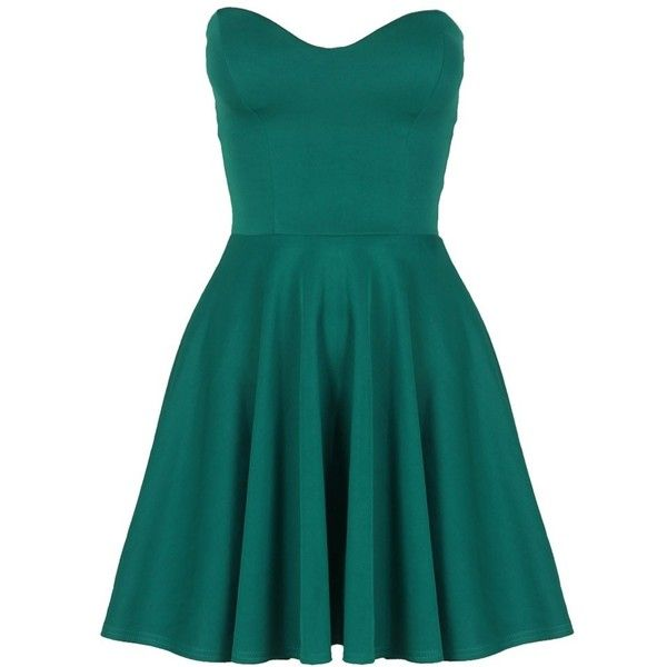 Teal Green Boob Tube Flare Dress (€21) ❤ liked on Polyvore featuring dresses, vestidos, short dresses, elsa, teal green dresses, flared dress, mini dress, blue dress and short teal dresses