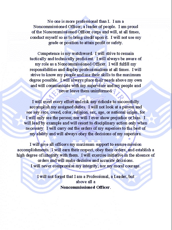 importance of respecting an nco