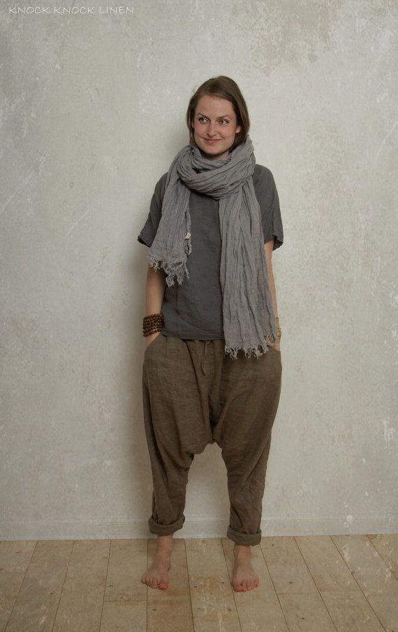 LINEN HAREM pants / trousers / yoga pants by KnockKnockLinen