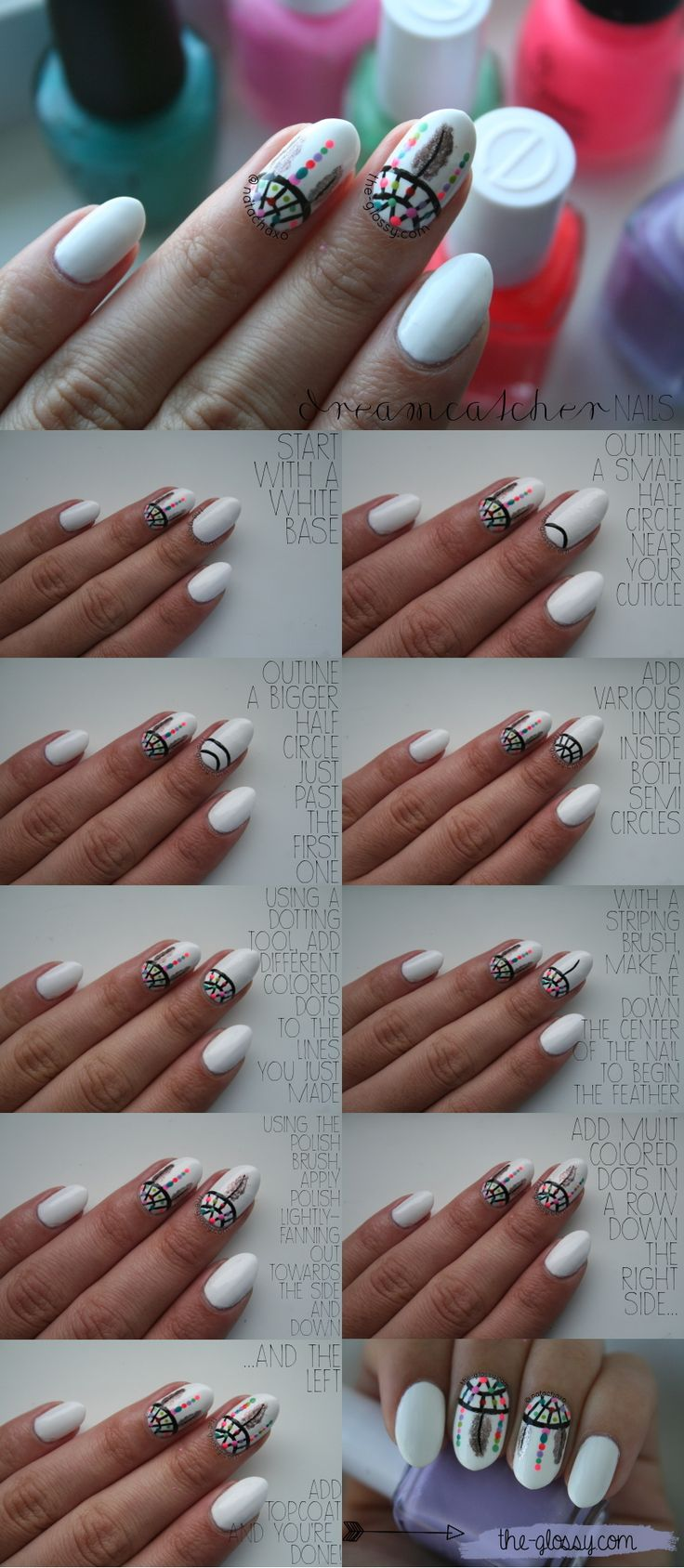 Wow! Really cool dream catcher nail art... I have a feeling this would take a long time!