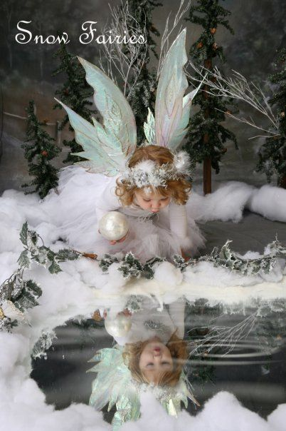 snow fairies photo shoot - do indoor using a mirror surrounded by fake snow and then a picture of a ripple in water to overlay into the mirror.