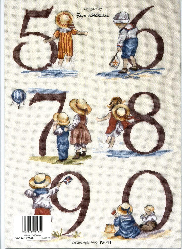 Schema punto croce Numeri Bimbi 2