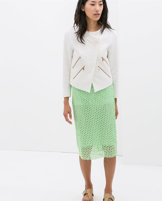 Image 1 of GUIPURE LACE PENCIL SKIRT from Zara