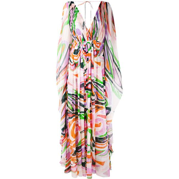 Emilio Pucci abstract print maxi dress (8.280 BRL) ❤ liked on Polyvore featuring dresses, multicolour, multi coloured dress, multi coloured maxi dress, colorful maxi dress, multi print dress and abstract print dress