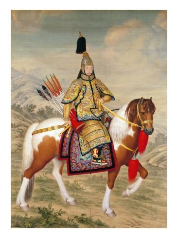 The Qianlong Emperor in Ceremonial Armour on Horseback Giclee Print by Giuseppe Castiglione at Art.com