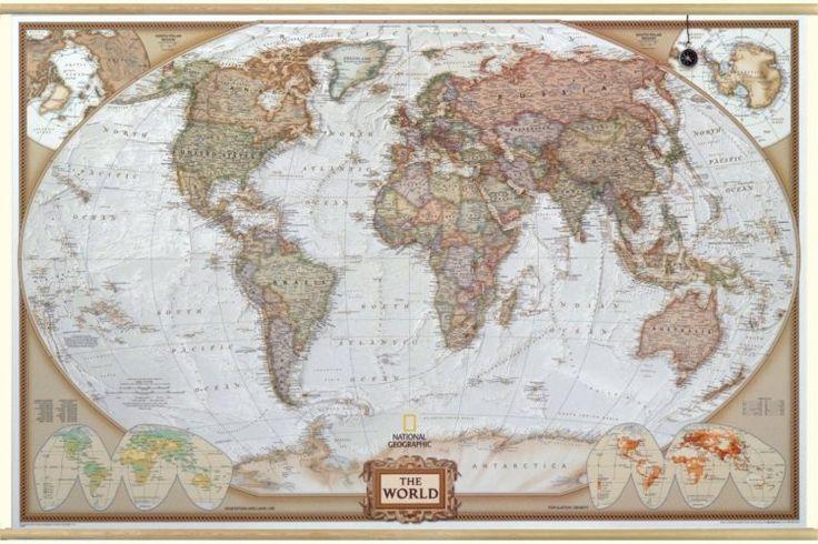 Antiek Huge wereldkaart National Geographic op houten stokken