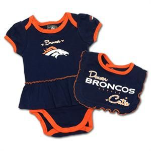 Newborn Denver Broncos Red My First Christmas Creeper, Bib & Booties Set