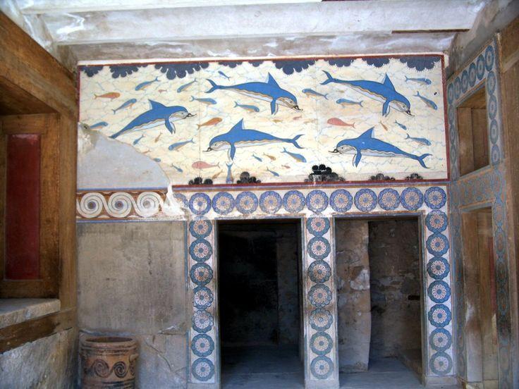 Fresco de los Delfines, en el megaron de la Reina. Palacio de Cnosos. 1500 a. C.