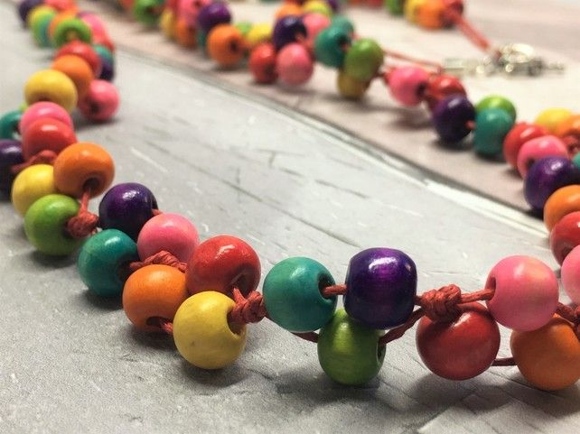 Rainbow wooden longer length necklace £15.00