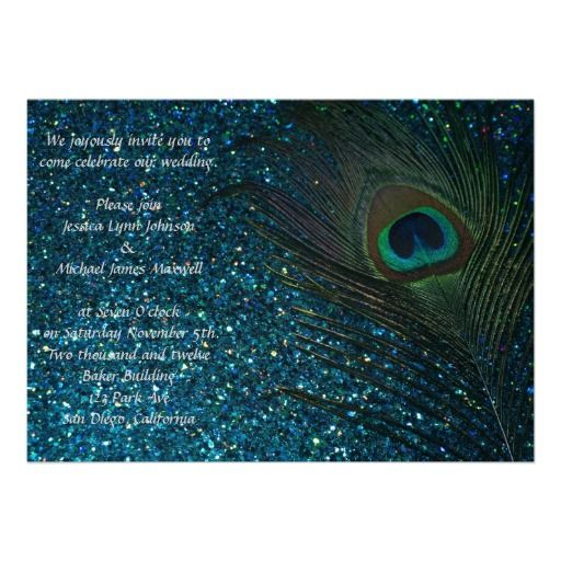 Glittery Aqua Blue Peacock Wedding Invites.  These beautiful peacock bird feather wedding invitations are stunning.