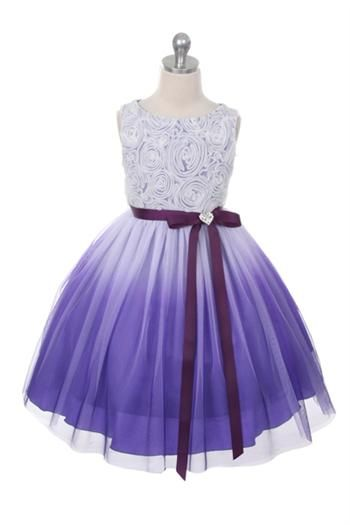 Stunning Elegance Defined in One Beautiful Dress! This beautiful silky taffeta dress has an elegant organza overlay with adorable rosette top. #purpleombrepartydress #ombrestyle #purplerosettedress #purpleflowergirldress