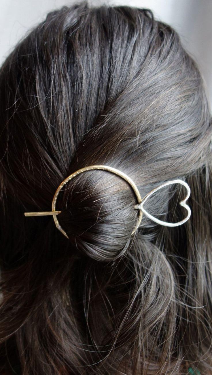 Hair Ware // Brass and Sterling Silver Heart Hair Bun Pin Holder Hair Slide Mixed Metals