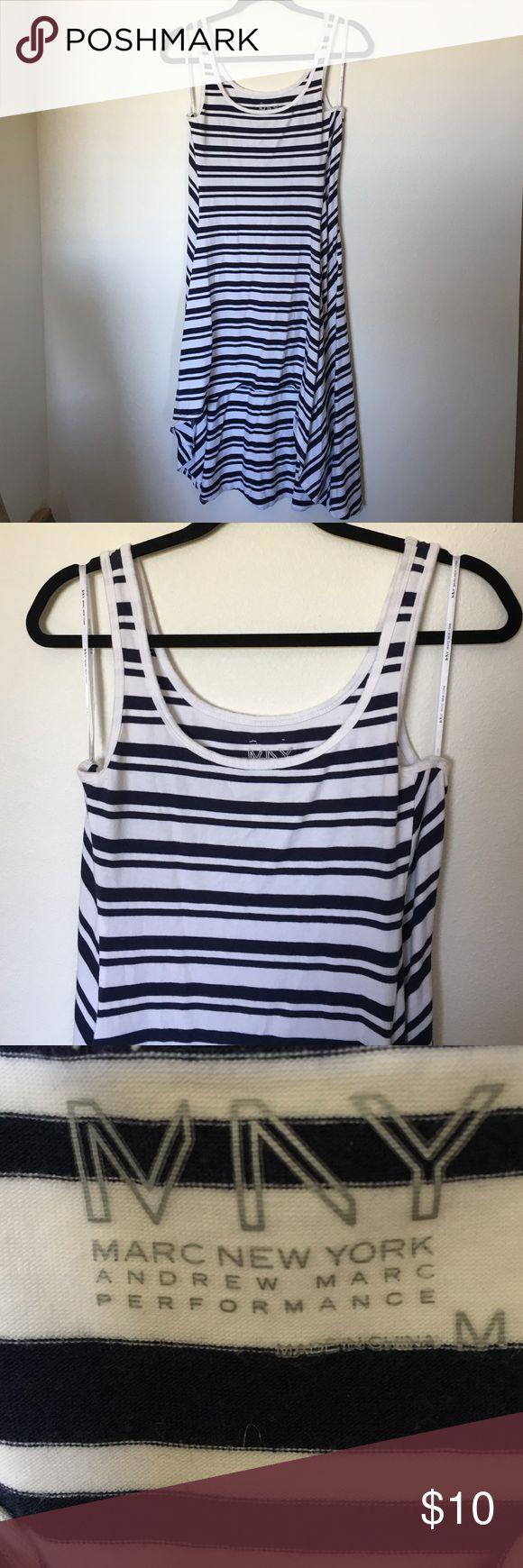 White & Navy Striped Cotton Dress Extremely comfortable Marc New York cotton dress! High-low style. Marc New York Dresses High Low