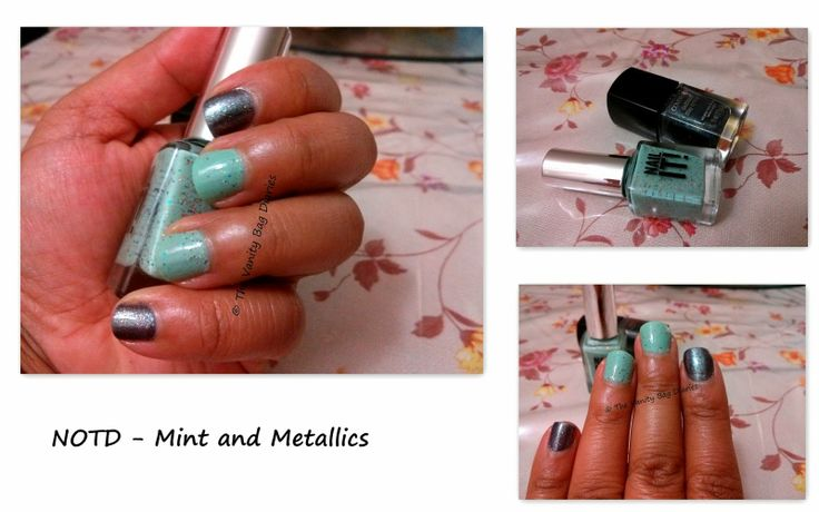 Getting my nails together ! Its been a long time since I have done a mani post. Today's manicure is a combination of metallics and mint.I have used Covergirl Outlast Midnight Magic which is a gorgeous gun metal shade with gold, blue and green shimmer and
