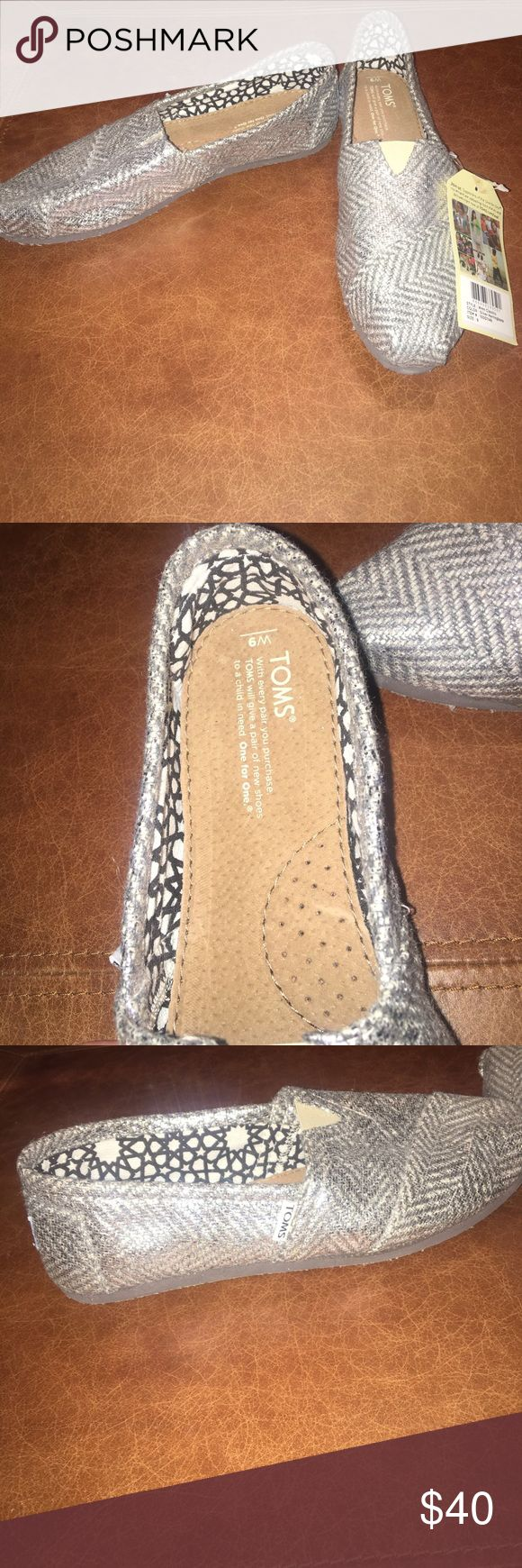 NWT Toms!! NWT Silver Herringbone women's Toms!! Toms Shoes Flats & Loafers