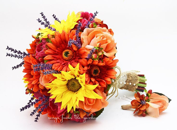 Autumn Wedding Bridal Bouquet and Groom's Boutonniere featuring Sunflowers