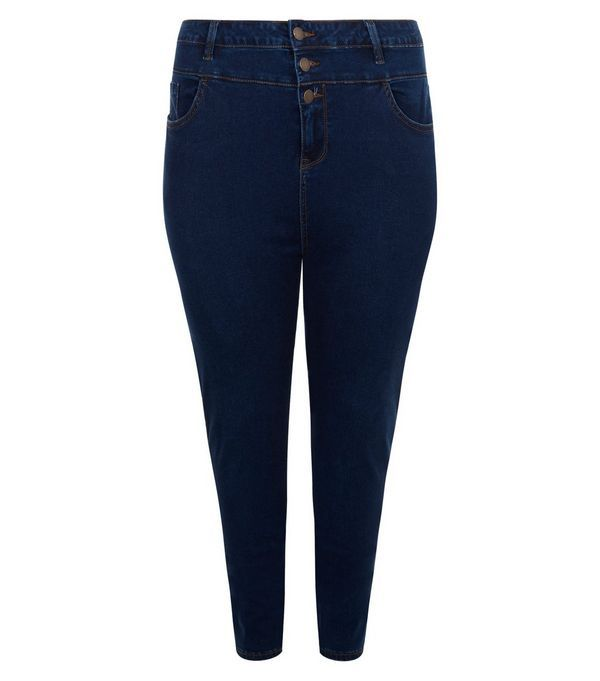 Curves Navy High Waist Skinny Jeans | New Look