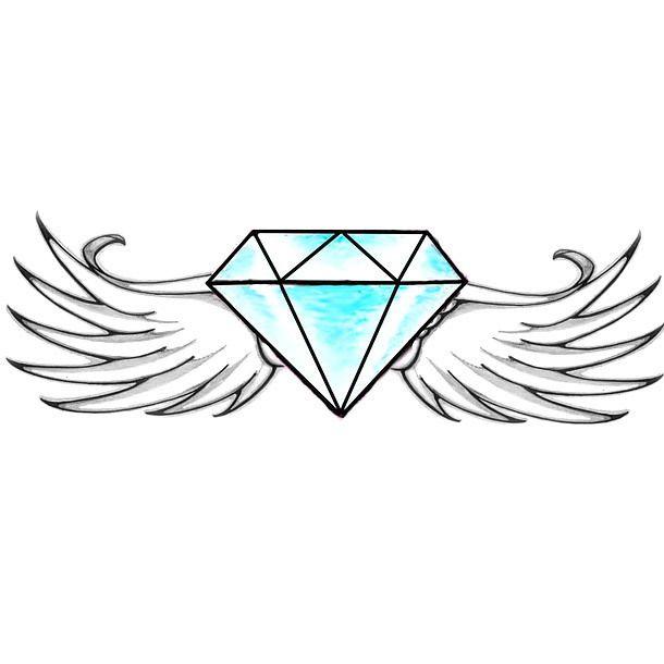 Winged Diamond Tattoo Design Diamond Tattoo Designs Diamond Tattoos Simple Tattoo Designs