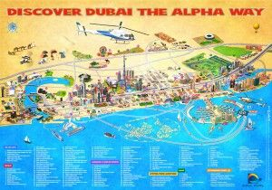 Dubai tourist map with tours and tourist attractions.