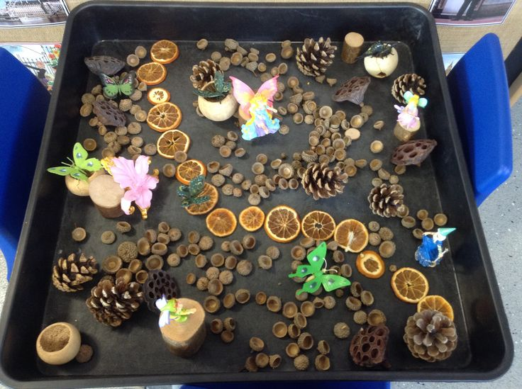 Fairies in a woodland, small world with natural resources.