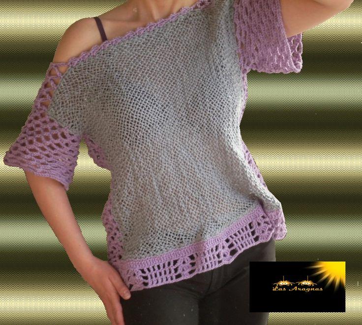 Polera Tejida en lana...Telar y crochet. $14.000.- Talla 40 - 42
