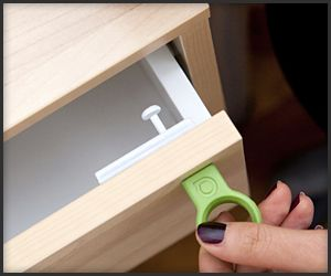 "Quirky Covert Magnetic - Lock The Covert is a discreet lock that you can attach to the inside of practically any storage with a door or drawer. It comes with a magnetic ""key"" that moves the Covert's latch to lock or unlock it."