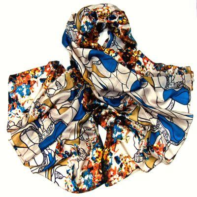 étole en soie imprimée modern art bleu canard #étole #soie #étoleensoie #accessoire #mode #mesecharpes.com http://www.mesecharpes.com/etole/etole-soie/etole-en-soie-bleu-canard-modern-style.html