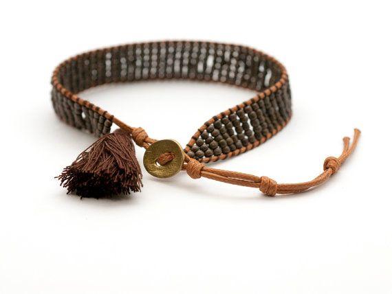 Beaded Cuff Bracelet Bead Woven Bracelet Tassel by PiscesAndFishes