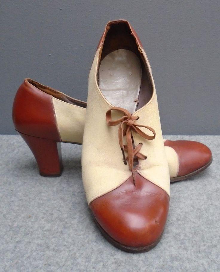 Original Vtg 1940s WW2 2 Tone Spectator Shoes Brogue Heels CC41 Era Swing 6 1/2