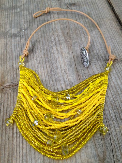Beaded necklace (would use leather, jump rings, wire, and crimp beads)