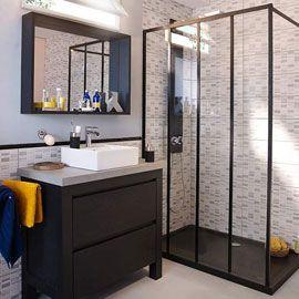 Kit de démarrage paroi de douche noire 60 cm Zenne,Paroi de douche fixe noire 30 cm Zenne,Profilé haut Zenne Noir 120 cm