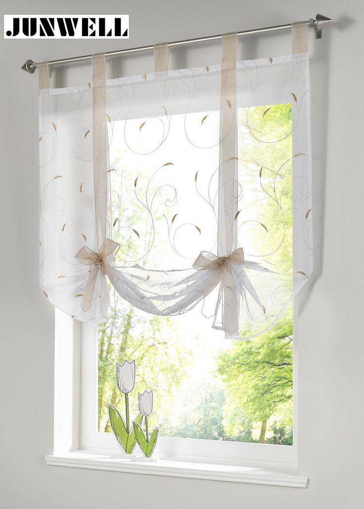 Máscara romana Europeu estilo do bordado do laço up janela cortina cortina de cozinha cortina de voile sheer top tab marca janela cortinas cortinas em Cortinas de Home & Garden no AliExpress.com | Alibaba Group