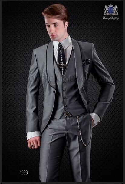 4207cbccdcb Latest Coat Pant Designs Italian Smoking Grey Men Suit Slim Fit Skinny 3  Piece Tuxedo Custom Groom Prom Blazer Terno Masculino  Menssuits
