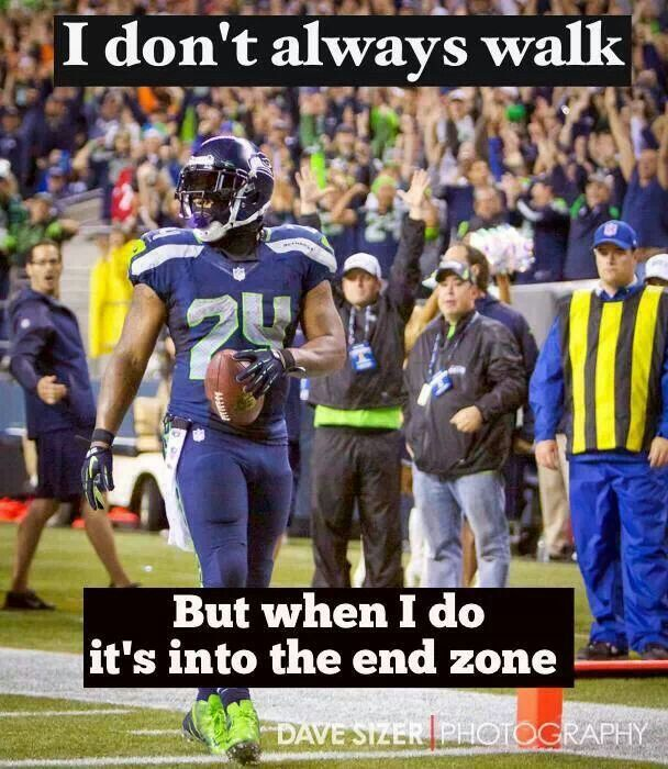 Marshawn Lynch nonchalantly strolls into the end zone during Week Two of the 2013 regular season, a 29-3 woodshed job against their divisional rival San Francisco 49ers.
