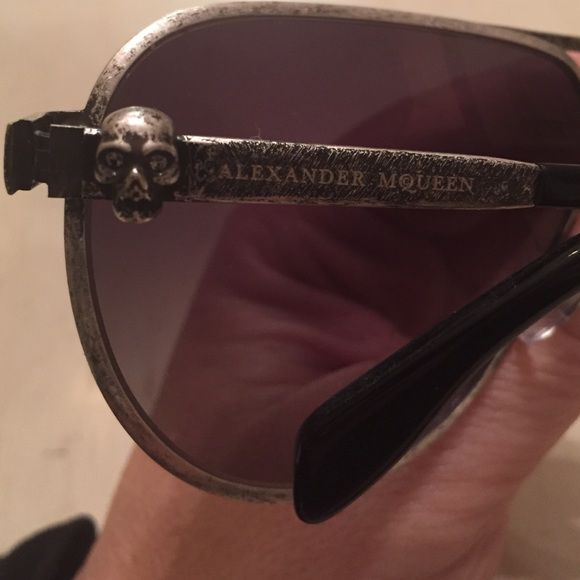 Alexander McQueen sunglasses Distressed silver, authentic, brand new, never worn, each temple has the Alexander skull on it. Each skull has crystals in the eyes. These are beautiful and a statement piece for sure!!!! Alexander McQueen Accessories Glasses