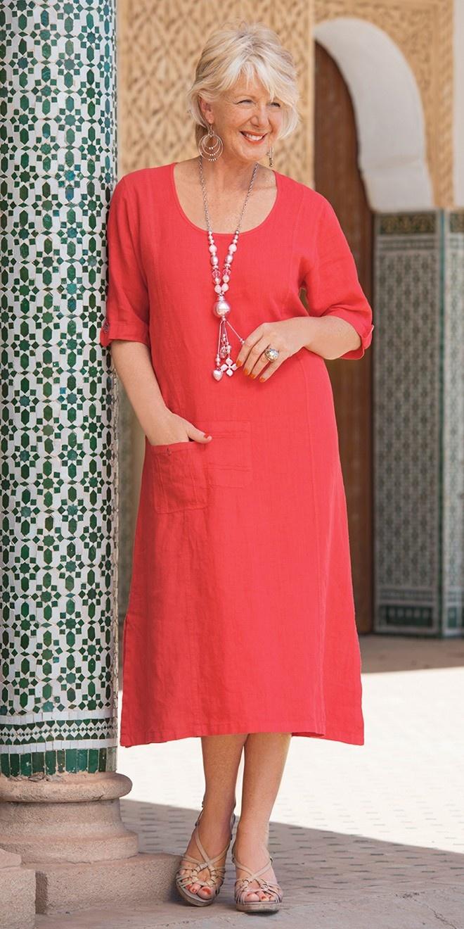 Kasbah terracotta linen pocket dress