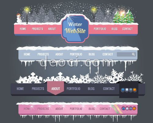 781_deoci.com_4 Christmas winter snowflake theme Web menu design template illustrator EPS file free download