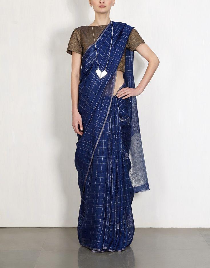 Berry Blue Jaamdani Linen Sari-Anavila
