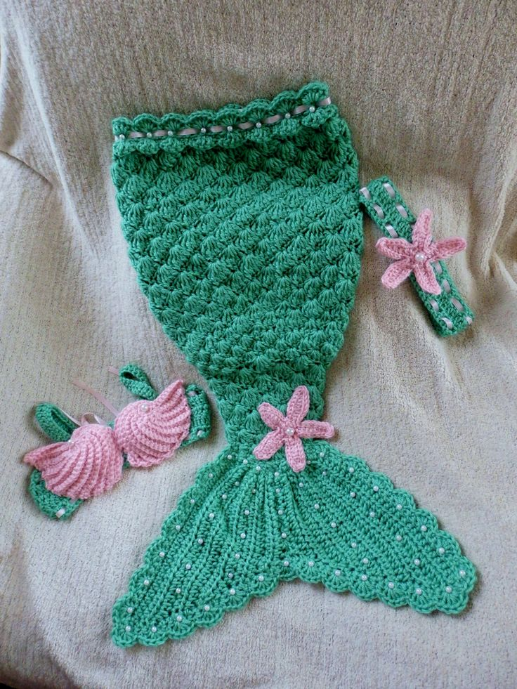 Crochet Costume Baby Props Little Mermaid Costume/ photo prop 0-12 mon