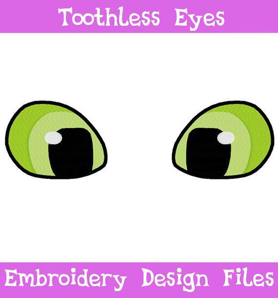 PES FILES Toothless Eyes  Embroidery Machine Design por SoapyBacon