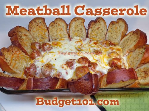 Meatball Sandwich Casserole 1 2-3lb Bag of Frozen Meatballs 1 jar of spaghetti sauce 1 cup mozzarella cheese, shredded 1 cup Italian blend cheese, shredded 1/2 cup Parmesan cheese, shredded 1 loaf of fresh Italian bread, sliced