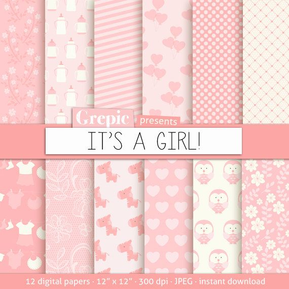 "Baby girl digital paper: ""ITS A GIRL"" with cute pink baby girl owls, hearts, flowers, bottles, dots, stripes for scrapbooking, cards #digitalpaper #scrapbooking"
