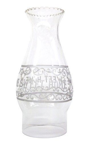 Glo Brite L85-06 Home Sweet Home Chimney/Globe Glass Oil Lamp by Glo Brite. $12.56. 7-1/2-Inch tall. 3-Inch base. Clear glass. A classic design chimney that reads HOME SWEET HOME, 7-1/2-inch tall and 3-inch wide at the base.. Save 10% Off!