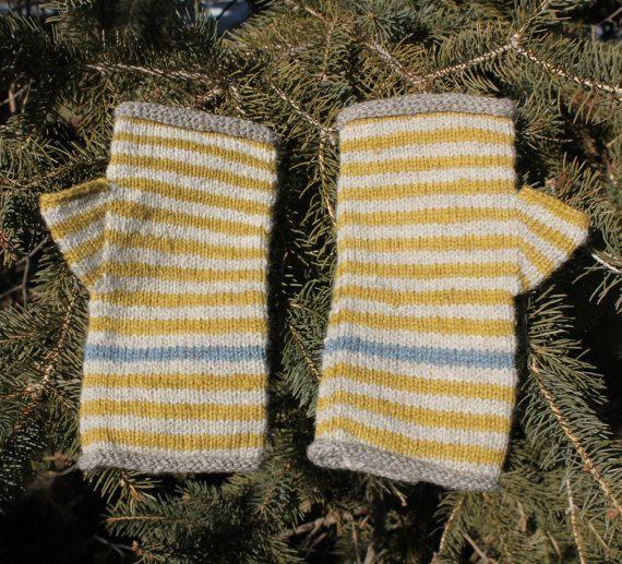 Fingerless Mittens - handknit mitts made from rare Romeldale wool, kid mohair and angora fibers. gray, winter  white, mustard, blue heron