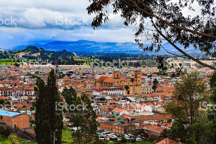 Colombia - Looking at Zipaquira town from higher elevation royalty-free stock photo